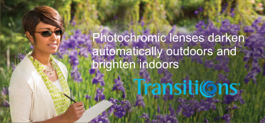 Transitions lenses darked outdoors automatically for one pair indoors and in the sun